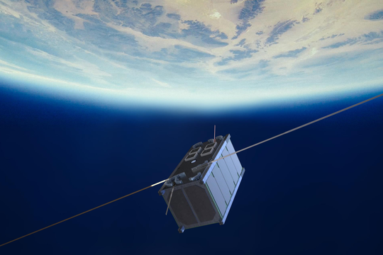CubeSat 2U with solar cells and sensors on the faces