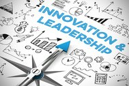 Business Innovation & Leadership als Konzept auf einem Kompass