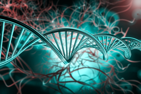 DNA molecule research concept. 3D rendering